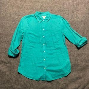 Aqua  Linen button up shirt